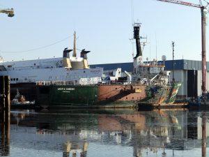 Voortgang verbouwing ARCTIC SUNRISE bij de KNS in Delfzijl.