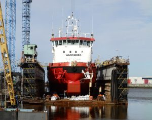SERKEBORG ombouw naar diving support vessel.