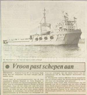 Vroon past schepen aan