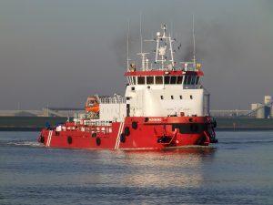 Proefvaart REDSBORG (ex: Serkeborg) op de Eems.