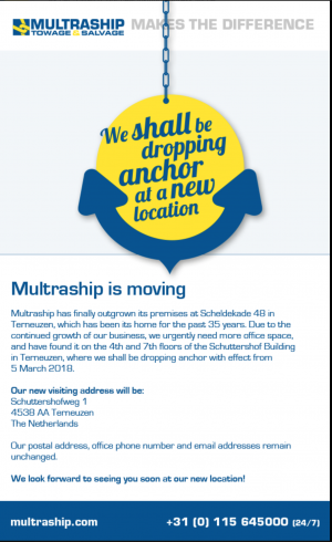 MULTRASHIP shall be dropping anchor at a new location  –  MULTRASHIP gooit het anker ergens anders uit