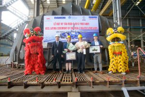 Damen holds keel-laying for Port of Auckland's fully electric RSD-E Tug 2513