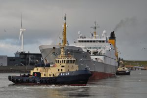Vertrek Frank Bonefaas H 72 uit IJmuiden naar zee
